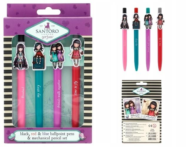 Zestaw 3 długopisów i ołówek Santoro - Gorjuss