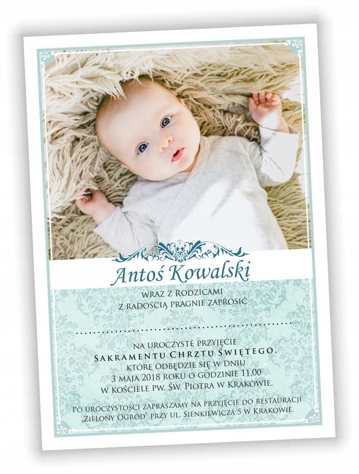 Zaproszenia Na Chrzest Chrzciny Ze Zdjeciem B 6905995189 Oficjalne Archiwum Allegro