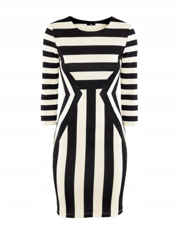 Modna sukienka H&M czarno biała w paski S(36)