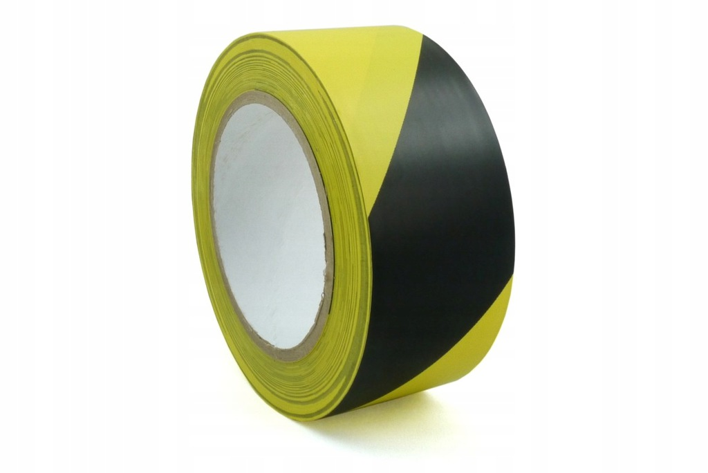 Żółto-czarna ostrzegawcza taśma klejąca PVC 33 m