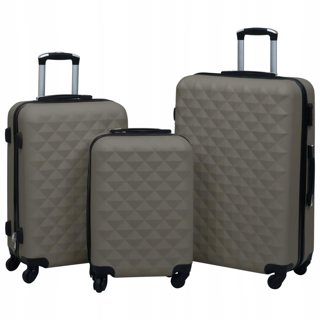 Zestaw twardych walizek na kółkach, 3 szt., antrac