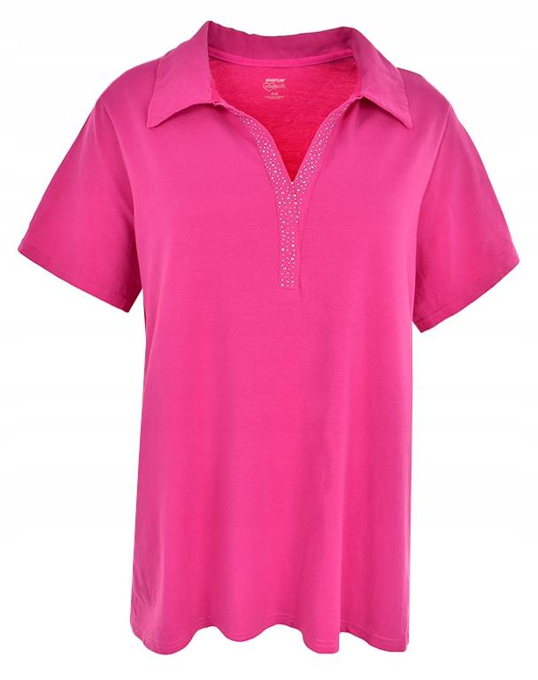 aAF6449 różowa koszulka polo z cyrkoniami 54/56