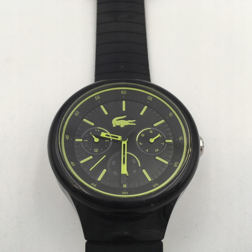 c21 LACOSTE zegarek męski czarny pasek guma