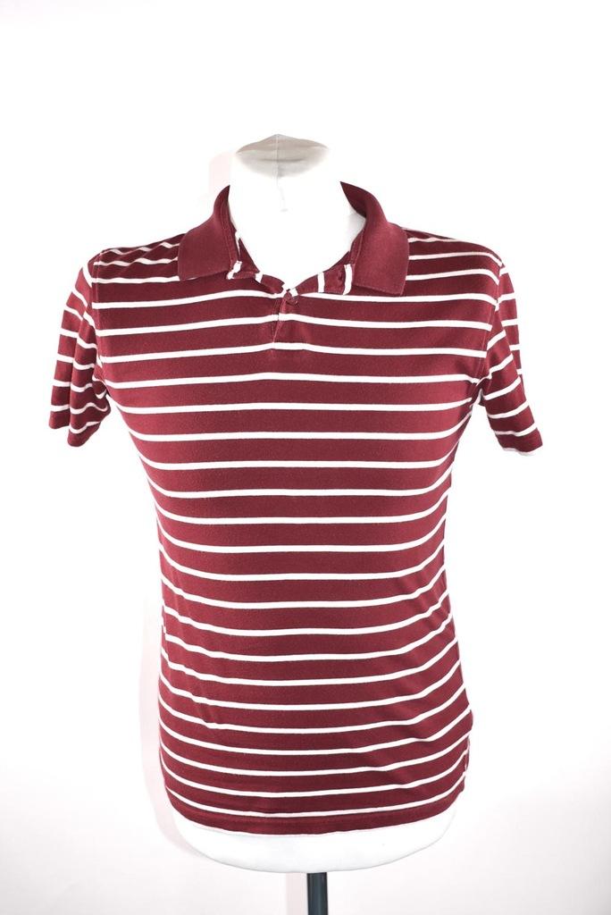 POLO koszulka męska bordowa w białe paski r. XS
