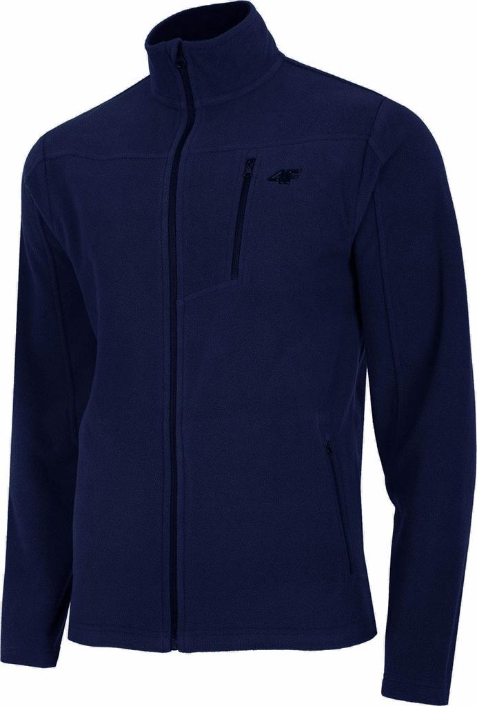 4F Granatowa Męska Bluza Polar Rozpinana Logo XXL