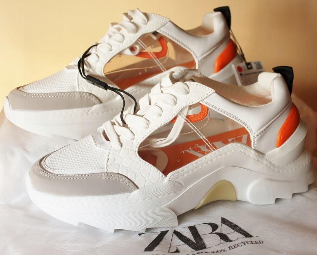 ZARA Sneakersy_wstawki z winylu_ gruba podeszwa_38