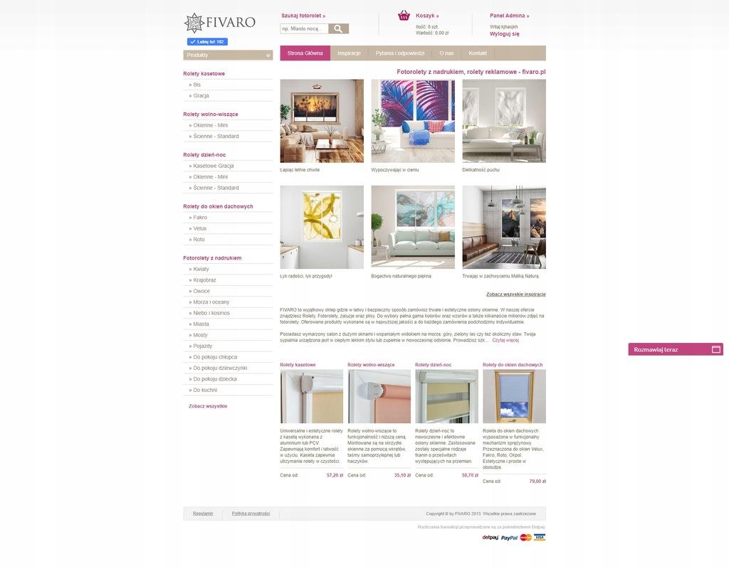 sklep internetowy - rolety wewnętrzne, Fotorolety