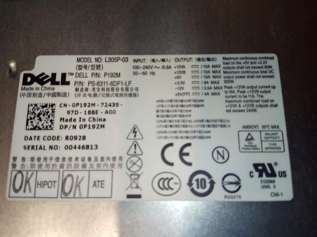 Zasilacz DELL L305P-03 305W do komp. Optiplex 760