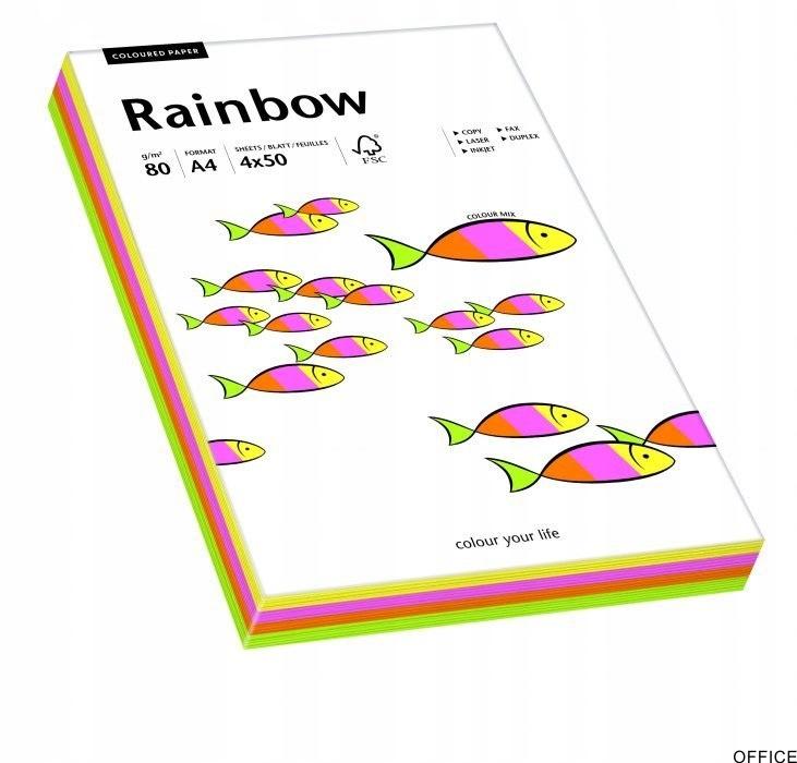 Papier xero kolorowy RAINBOW mix pastelowy 100ark