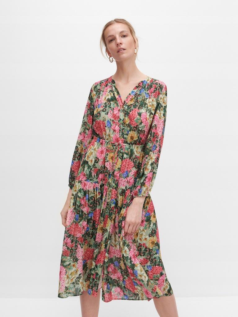 RESERVED-zwiewna sukienka w intensywne kwiaty - 38