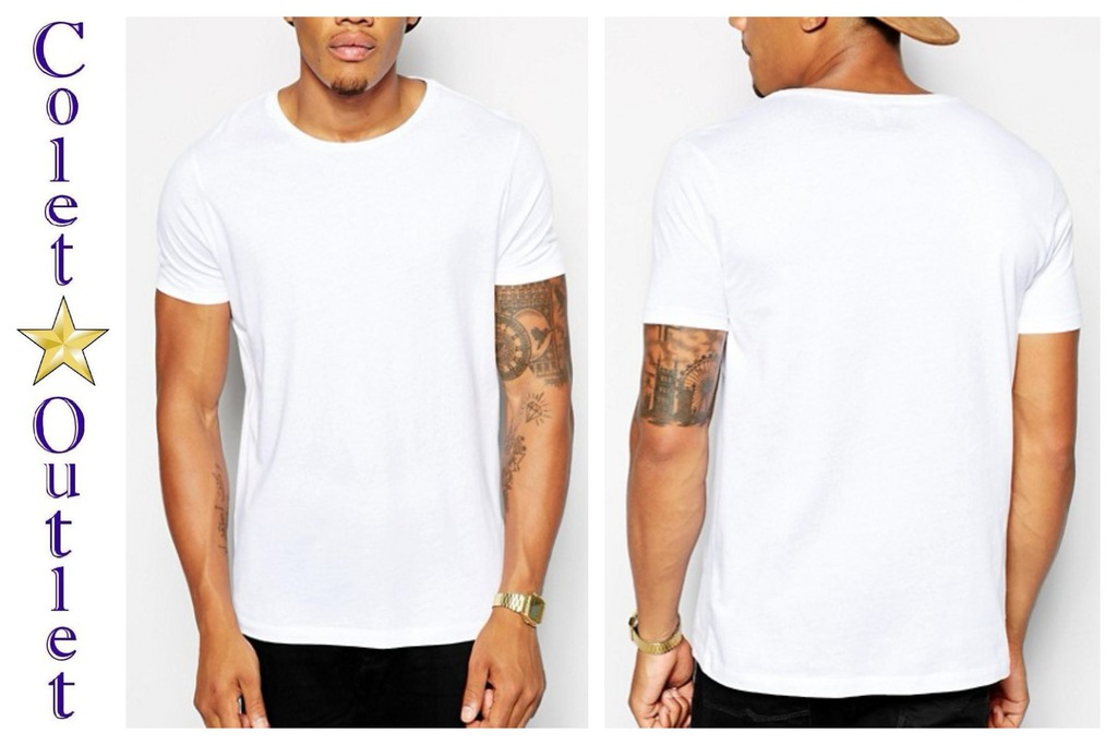 ms61 t shirt męski biały casual prosty zwykły XXS