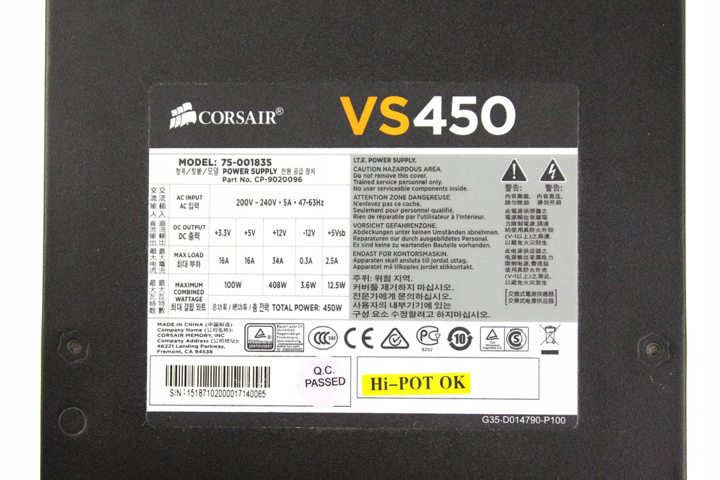 Corsair Cp 9020096 Vs 450w 80 9146639343 Oficjalne Archiwum Allegro
