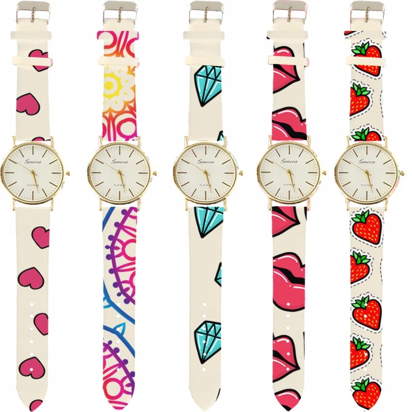 Zegarek dla kobiet DAMSKI GENEWA ZŁOTO BIAŁY WZORY