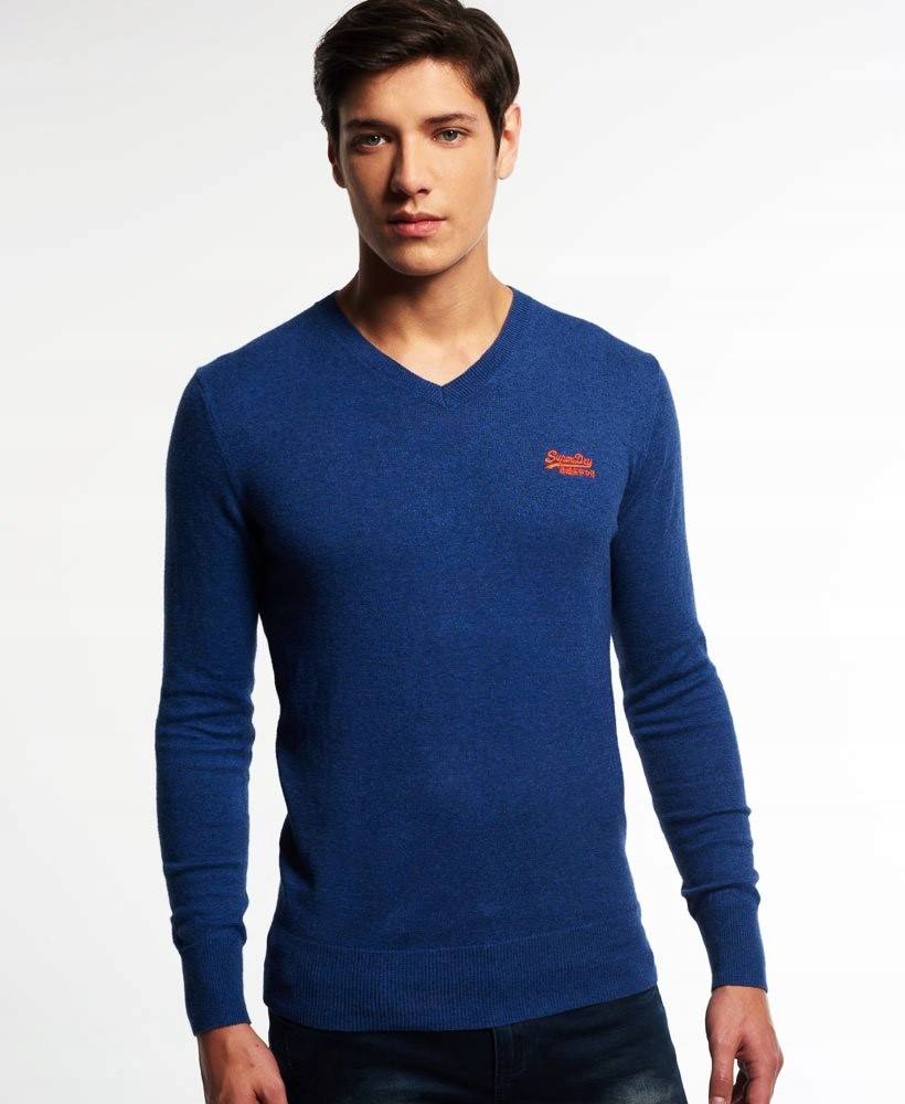 SUPERDRY - ORANGE LABEL__SWETER V - NECK_KOBALT__M