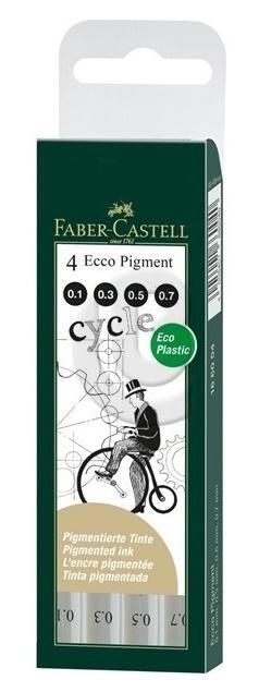 Cienkopis Ecco Pigment 4szt w etui FABER CASTELL