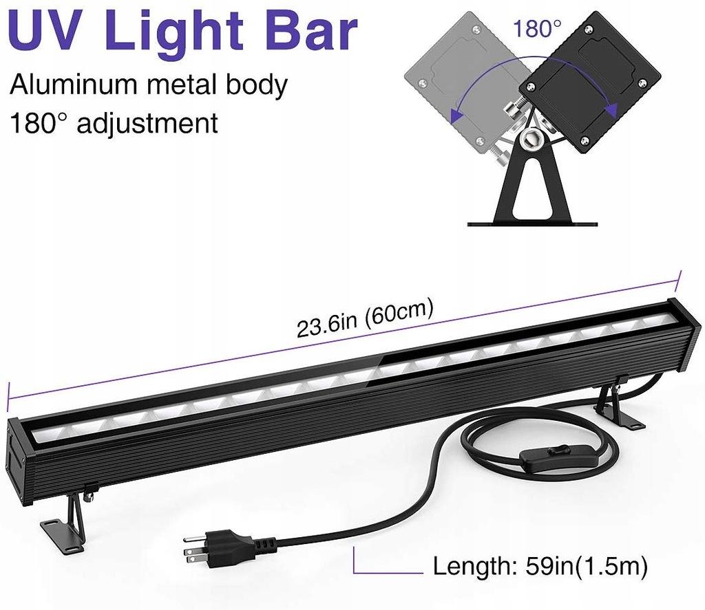 LAMPA UV LED 45W 18 DIOD LED BELKA IMPREZY 60CM