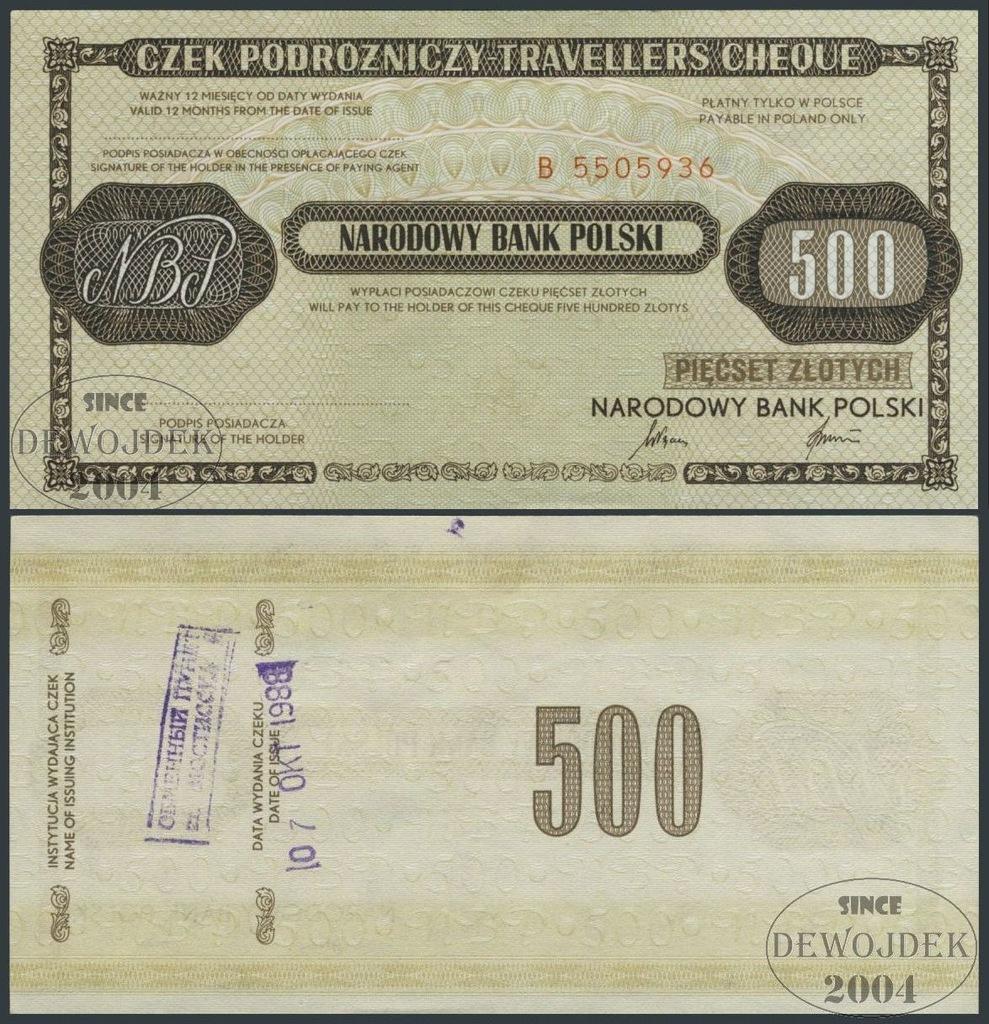 MAX - CZEK PODRÓŻNY NBP 500 zł seria B #1988