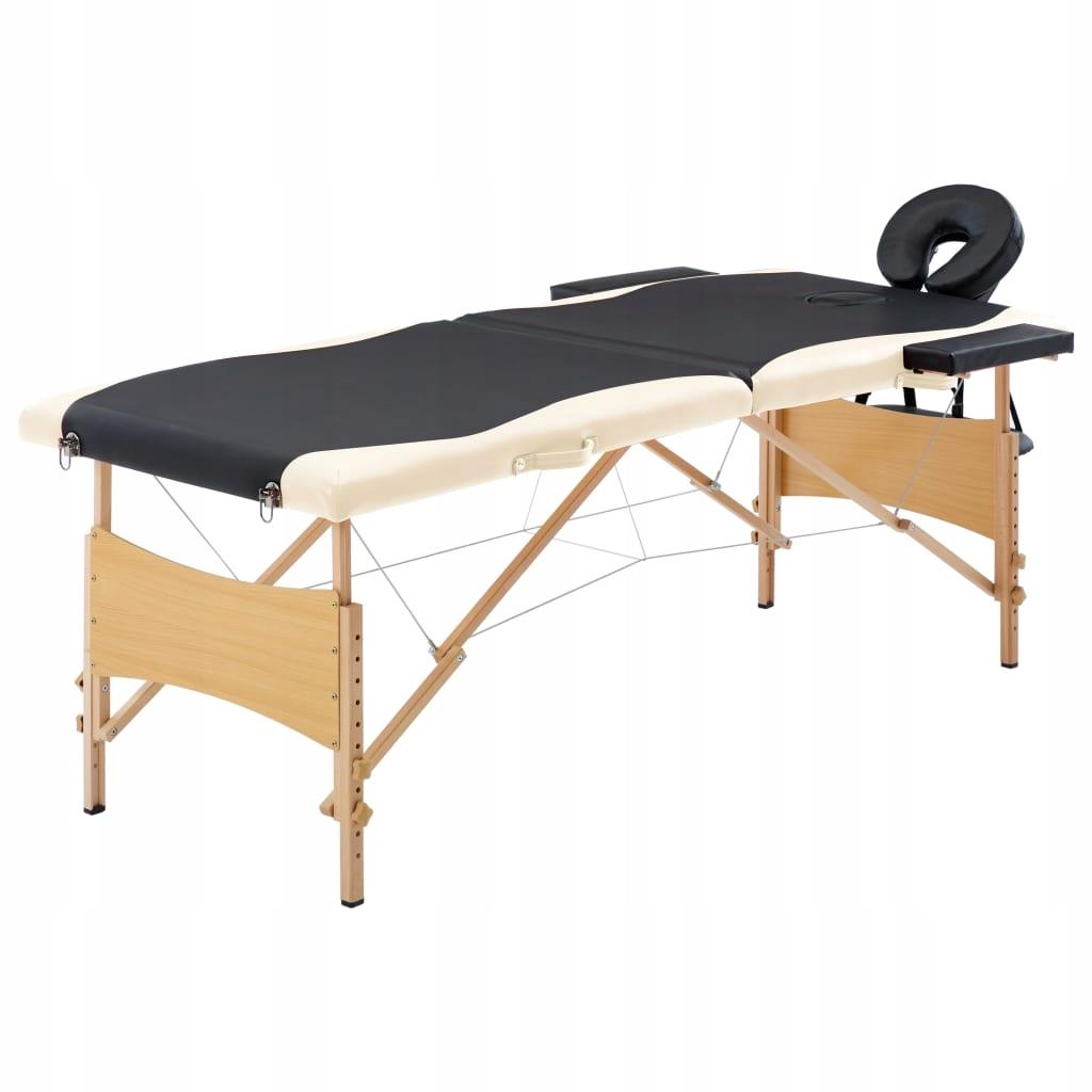 Składany stół do masażu, 2 strefy, drewniany, czar