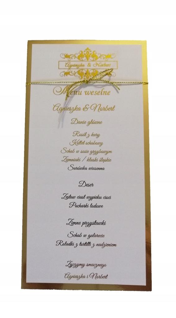 Menu weselne złote