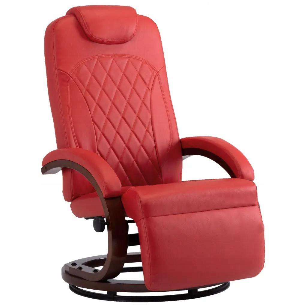 Czerwony Rozkładany Fotel TV Sztuczna Skóra