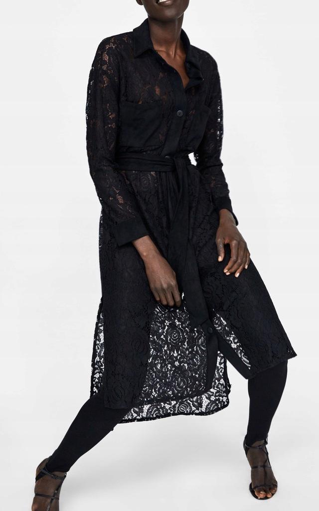 zara koszulowa sukienka z koronki