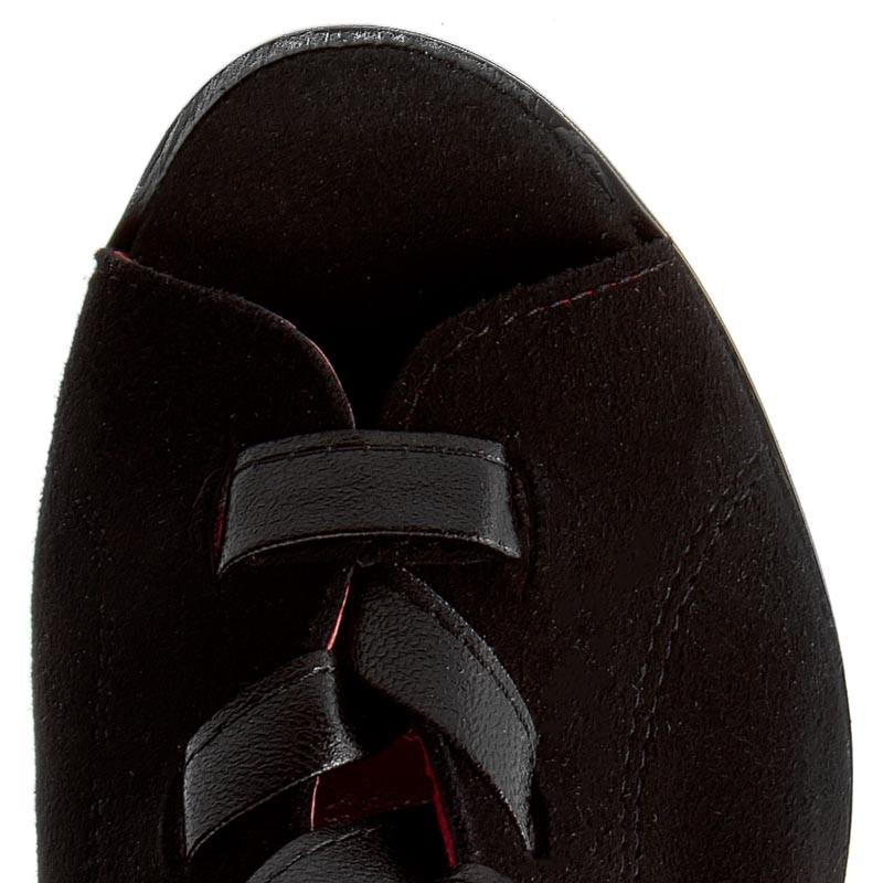Botki Sandały KARINO 38 Czarne na słupku skórzane Mikado