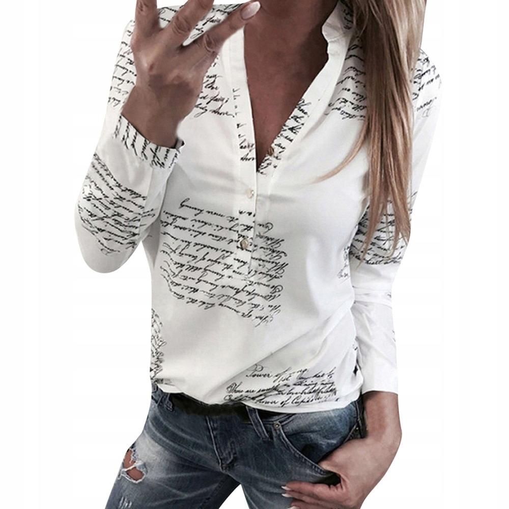 bluza biała z czarnymi napisami