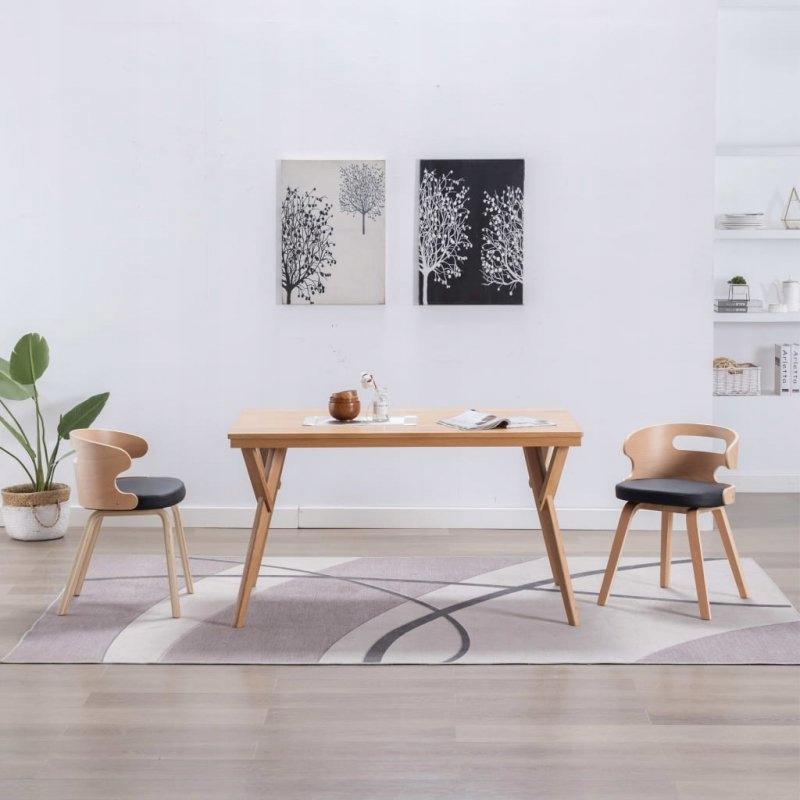 Krzesła do jadalni, 2 szt., czarne, gięte drewno