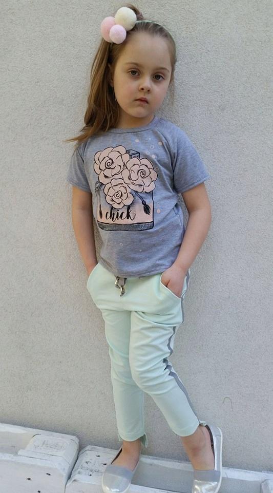 bluzka bluzeczka rękawek 104 róża brokat