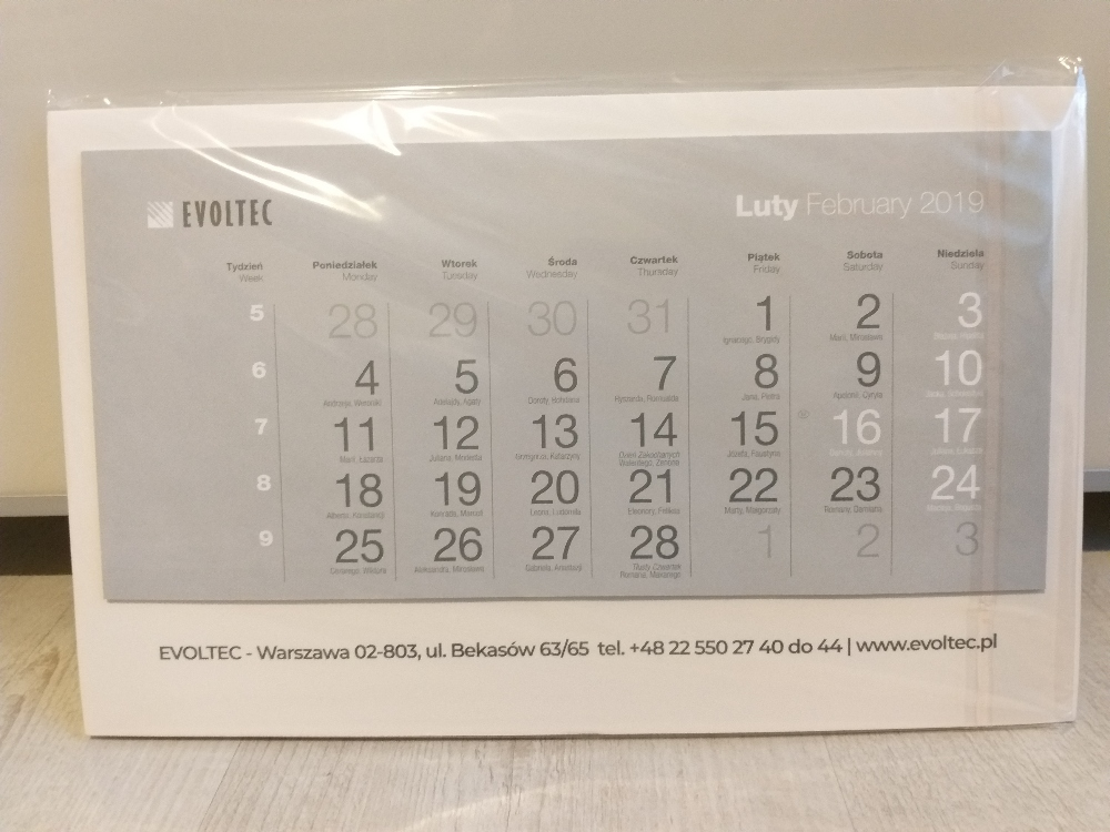 Kalendarz trójdzielny 2019
