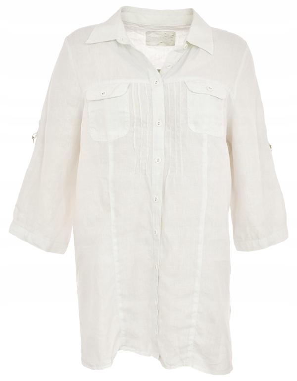 tAC0653 C&A biała lniana koszula 48