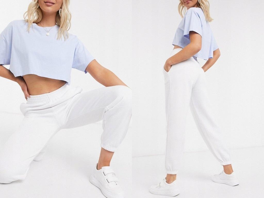 New Look Białe joggersy z kieszeniami XXS/32