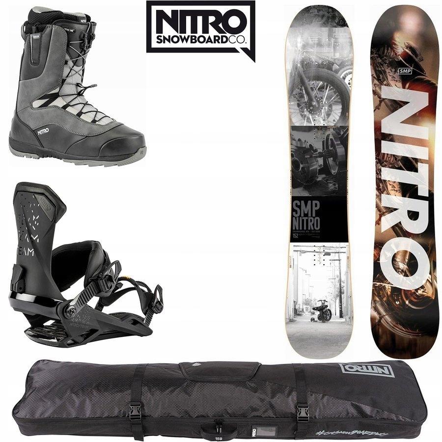 Snowboard SMP + wiązania + buty + pokrowiec Cargo