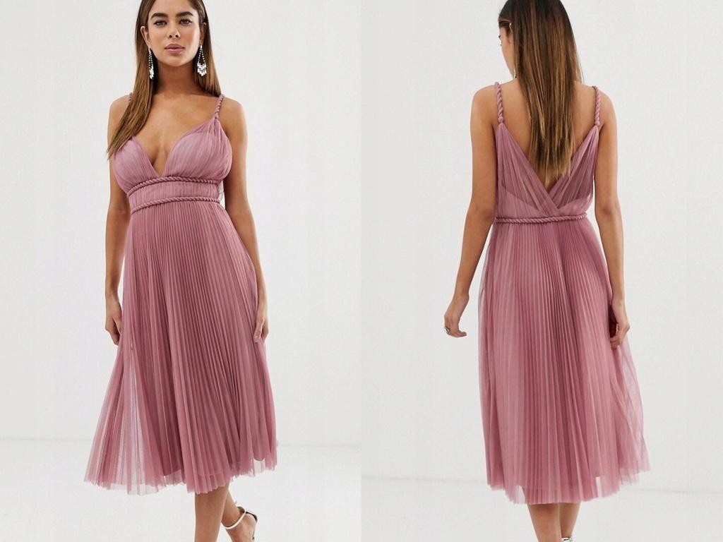 Różowa tiulowa sukienka na ramiączkach midi S