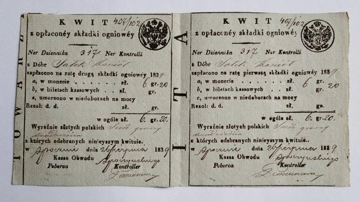 Podwójny kwit składki ogniowej. Opoczno 1839