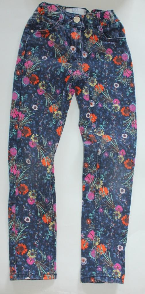 DUNNES spodnie jeans kwiaty 128