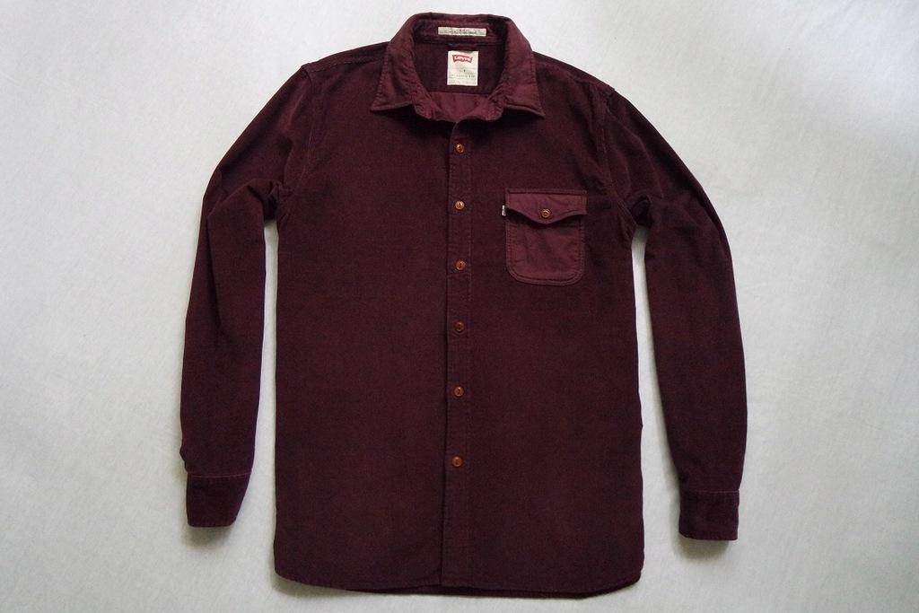 LEVI'S koszula sztruksowa bordowa logowana modna_L