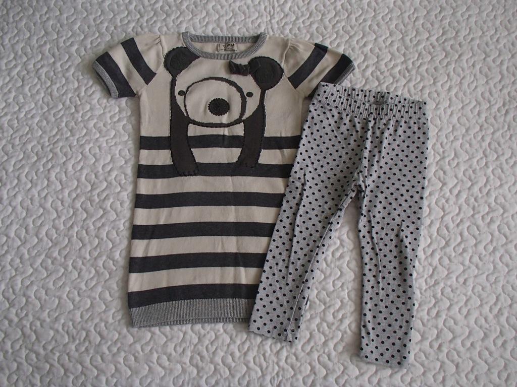 Next sukienka miś panda i legginsy roz 92-98