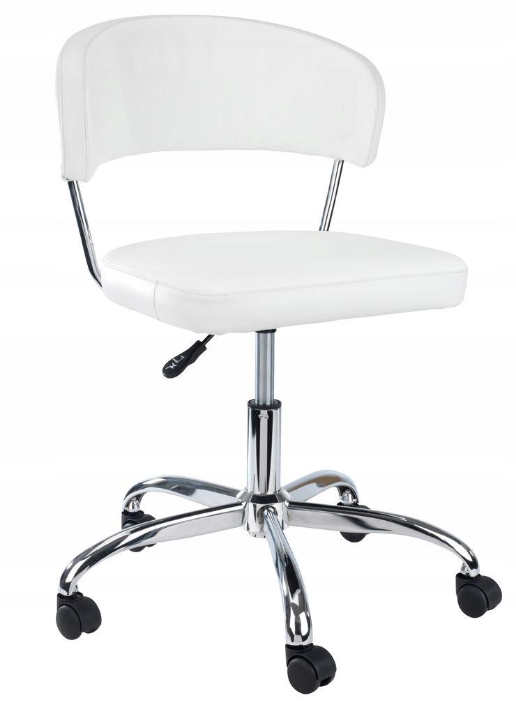 Krzesło biurowe skórzane białe chrom
