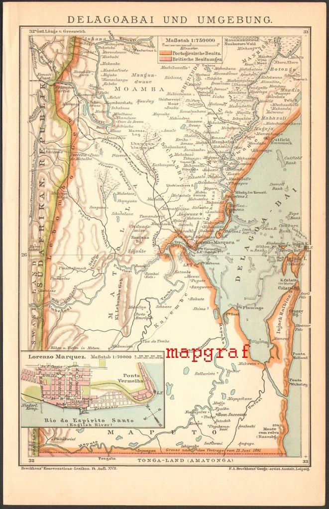 DELAGOA BAI I OKOLICE stara mapa z 1895 roku
