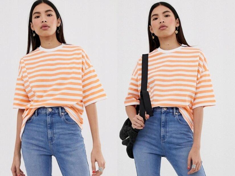 Design pomarańczowo biała koszulka t-shirt M/38