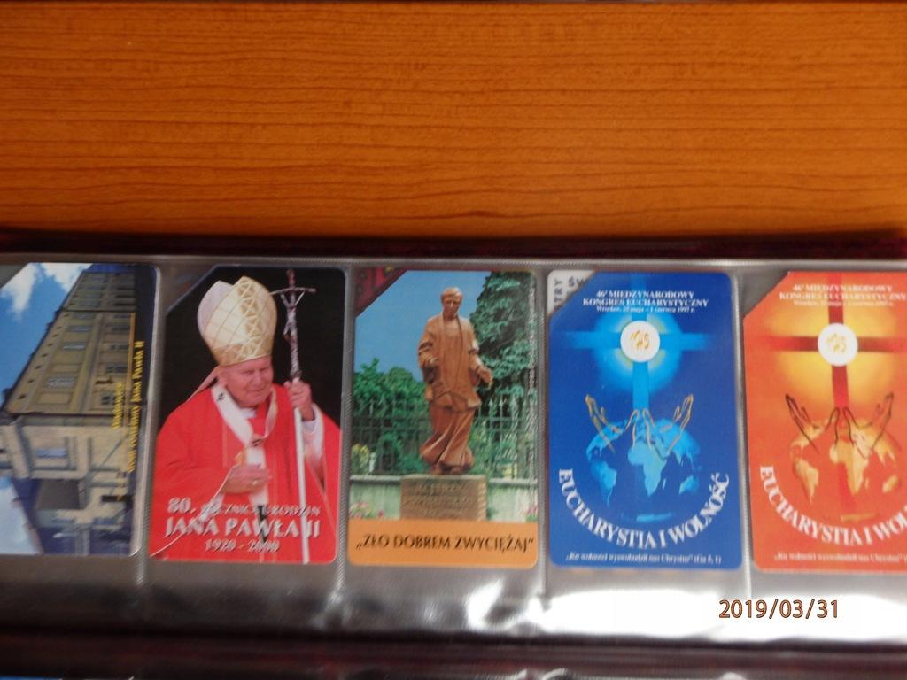 Karta telefoniczna - 5 szt. Papież Jan Paweł II