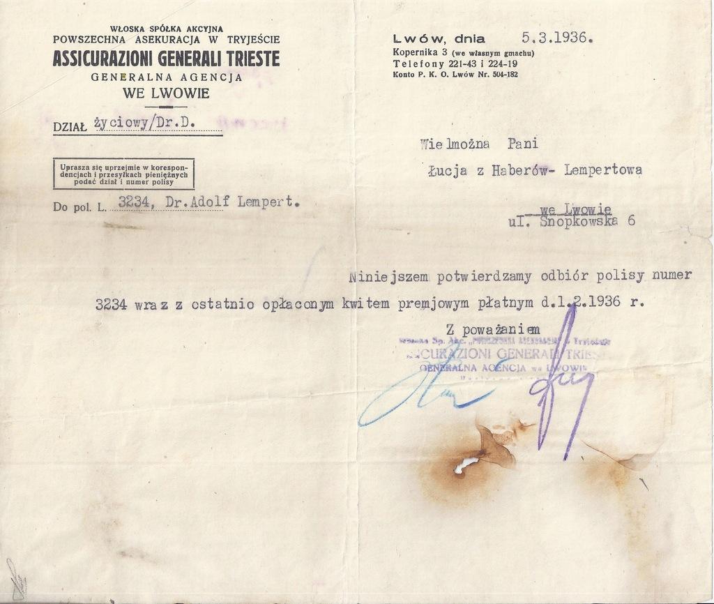 PISMO GENERALI LWÓW 1936