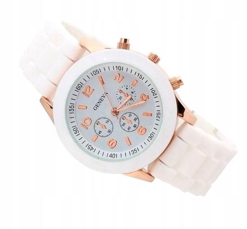 Zegarek Damski biały złoty GENEVA jelly SPORT