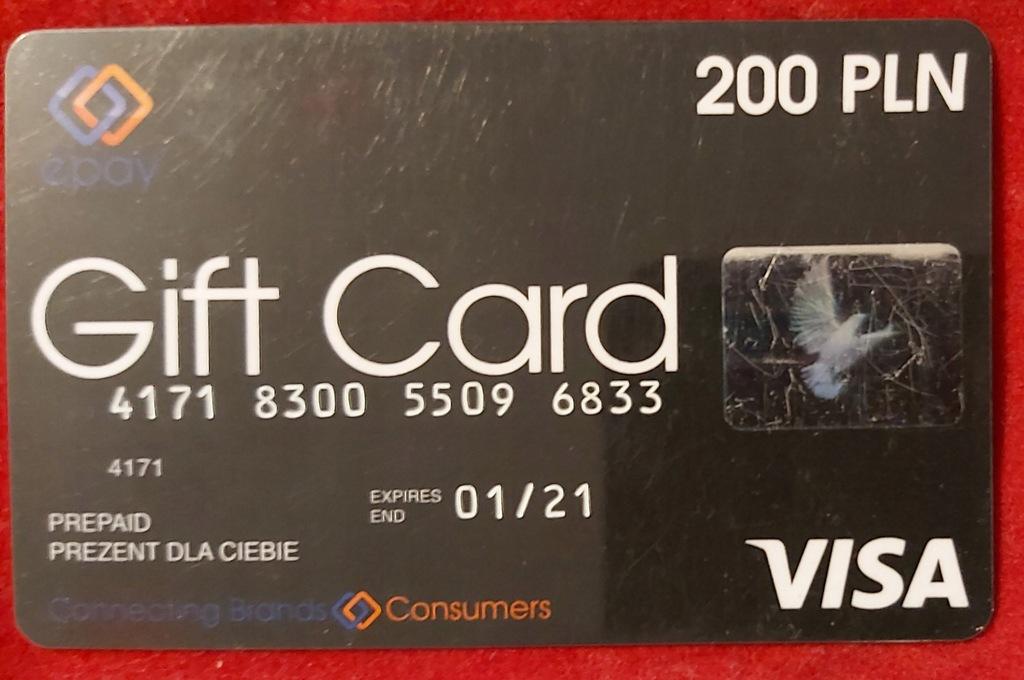 Karta VISA wydana przez EURONET Gift Card 200 PLN