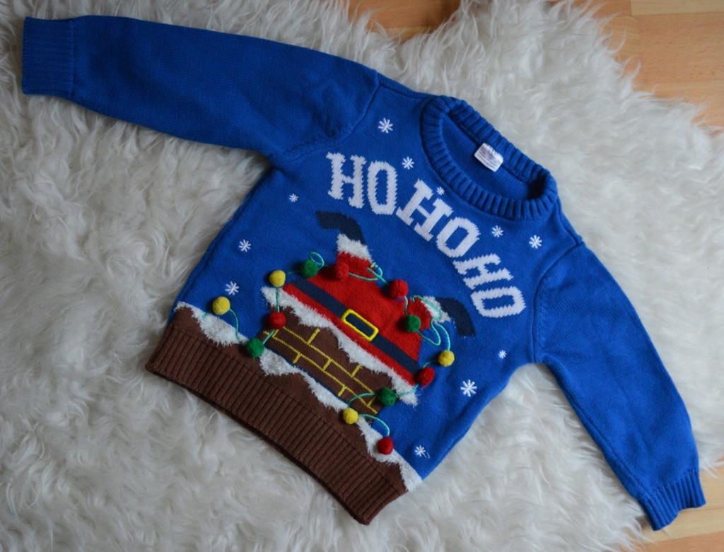 świąteczny sweterek F&F 18-24M 80-86CM HoHoHo