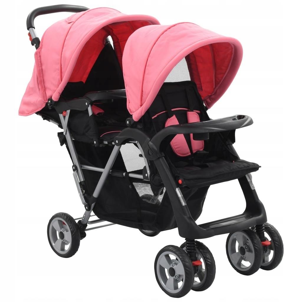 Wózek spacerowy dla bliźniaków różowo-czarny
