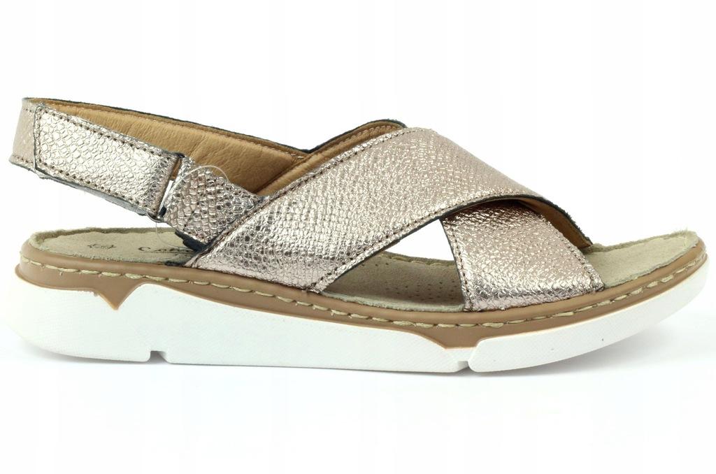 Złote skórzane sandały damskie FILIPPO DS756 r36