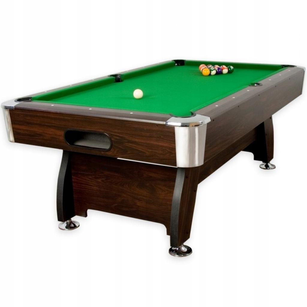 Stół bilardowy brązowy 8ft sukno zielone akcesoria