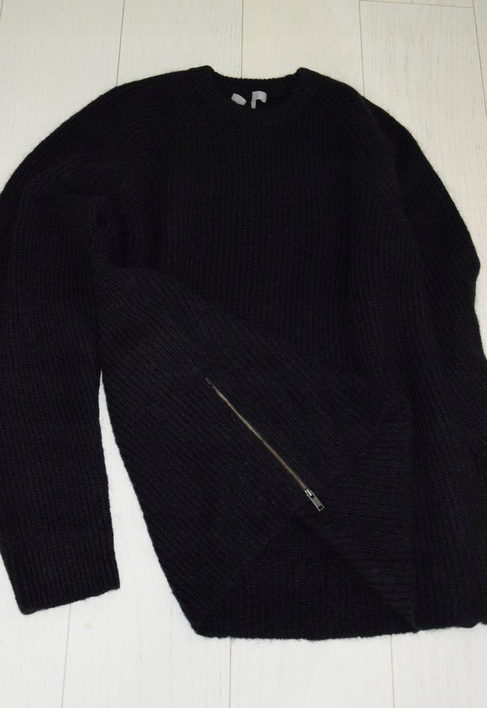 cos granatowy sweter wełna moher zip r. XL
